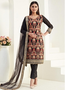 Faux Georgette Pant Style Classic Salwar Suit For Festival