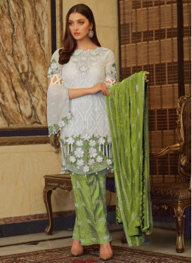 Faux Georgette Pant Style Designer Salwar Suit For Ceremonial
