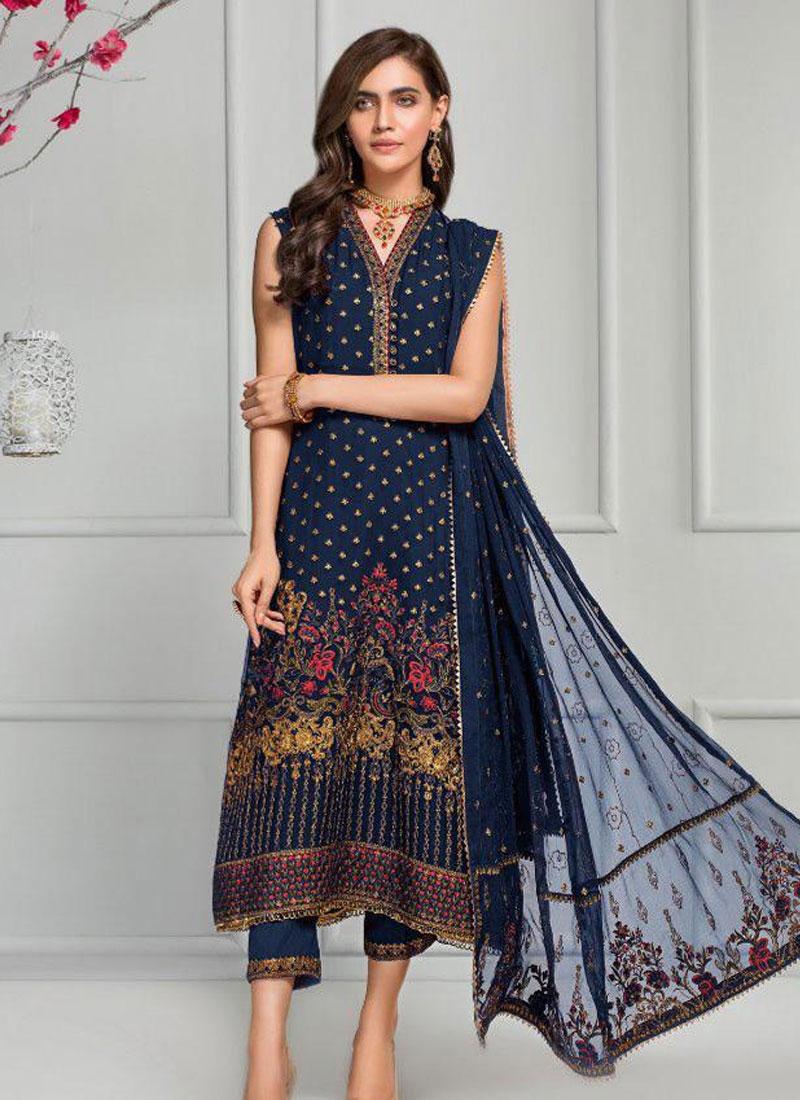 Faux Georgette Pant Style Pakistani Salwar Kameez For Festival