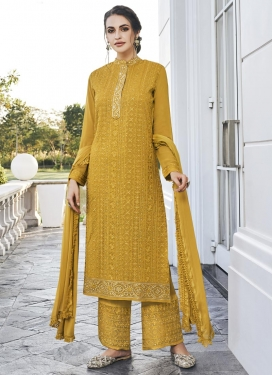 Faux Georgette Pant Style Pakistani Salwar Suit For Ceremonial