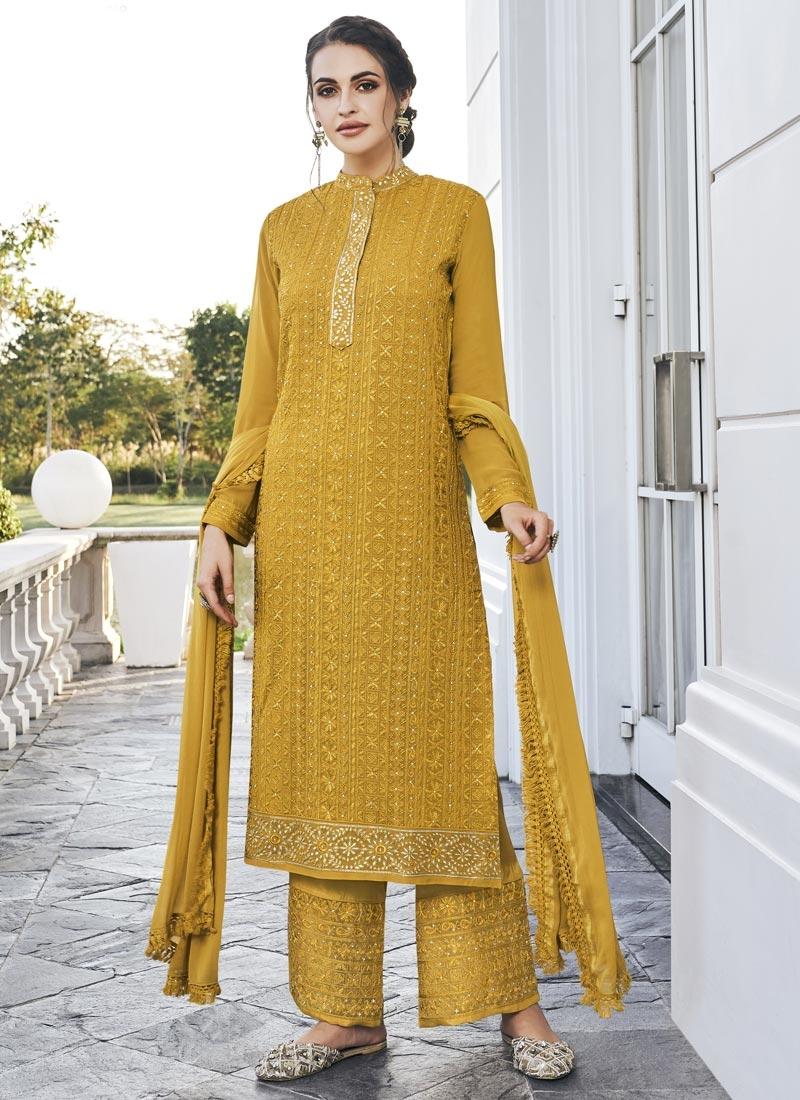 Faux Georgette Pant Style Pakistani Salwar Suit For Ceremonial