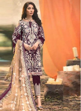 Faux Georgette Pant Style Pakistani Suit For Ceremonial