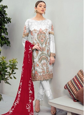 Faux Georgette Pant Style Pakistani Suit For Festival