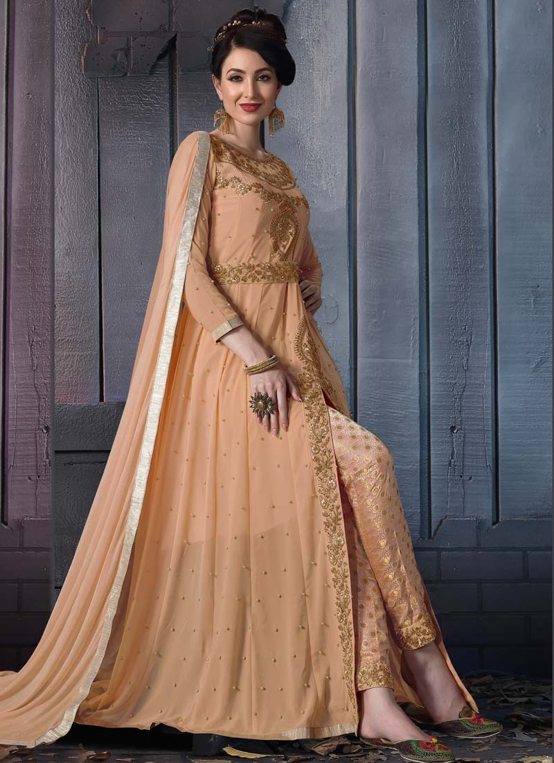 Faux Georgette Pant Style Salwar Kameez