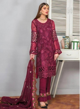 Faux Georgette Pant Style Salwar Kameez For Ceremonial