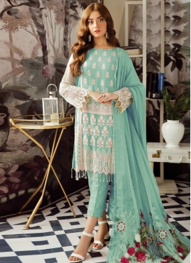 Faux Georgette Pant Style Straight Salwar Kameez For Ceremonial