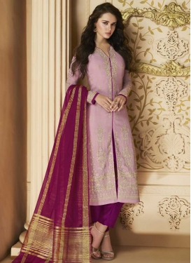 Faux Georgette Pant Style Straight Salwar Kameez For Festival