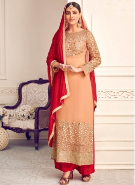 Faux Georgette Peach and Red Embroidered Work Palazzo Style Pakistani Salwar Kameez