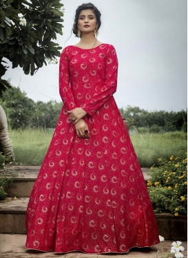 Faux Georgette Print Work Floor Length Gown