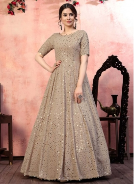 Faux Georgette Sequins Work Floor Length Gown