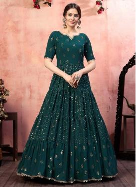 Faux Georgette Sequins Work Floor Length Trendy Gown