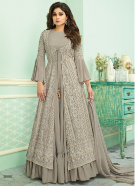 Faux Georgette Shamita Shetty Jacket Style Salwar Kameez
