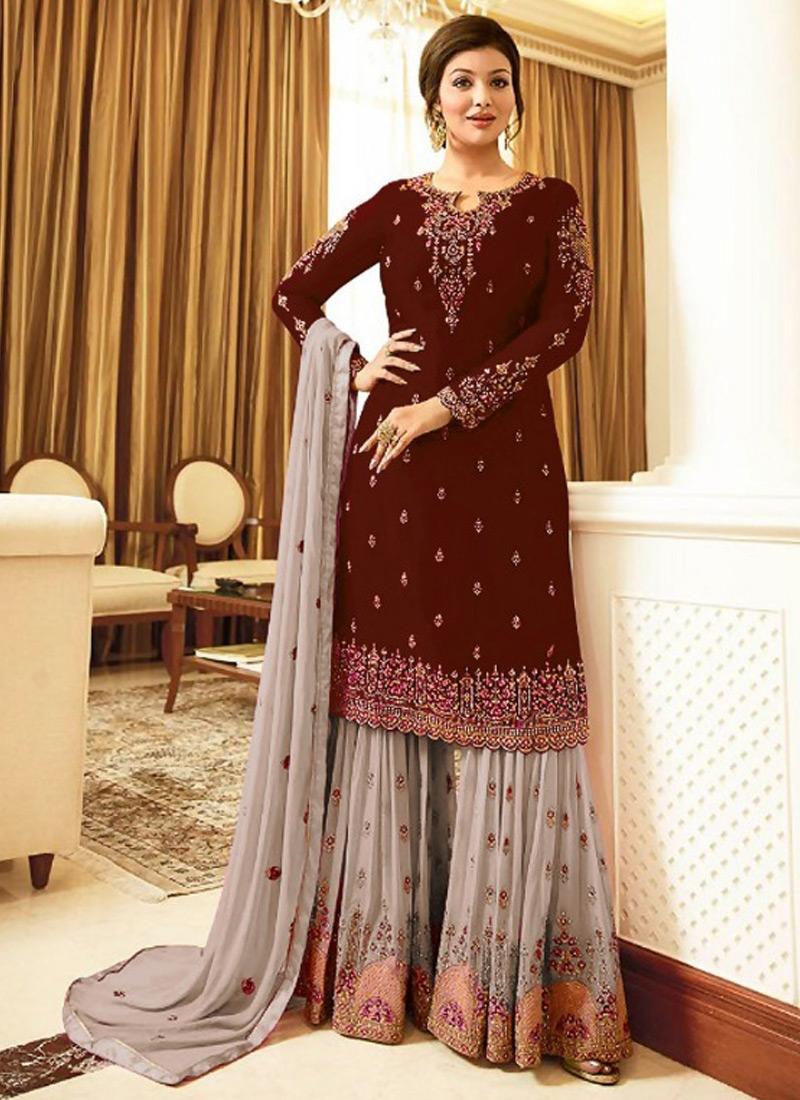 Faux Georgette Sharara Salwar Kameez For Ceremonial