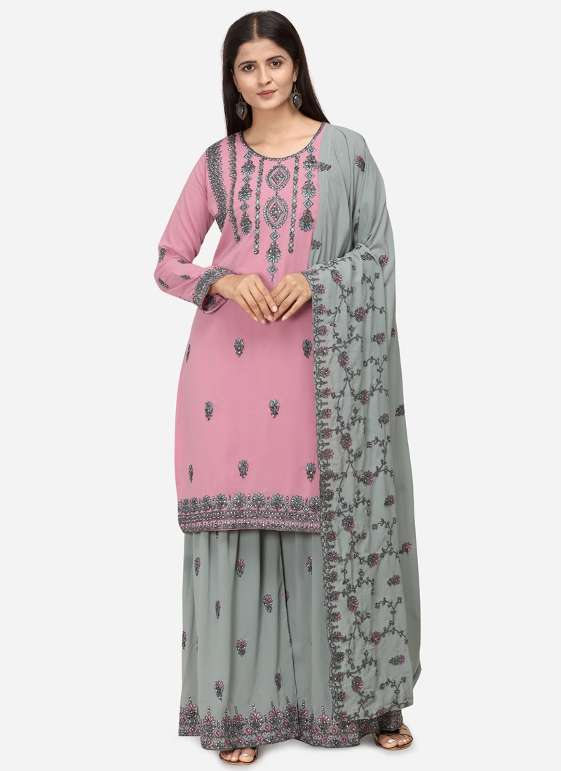 Faux Georgette Sharara Salwar Kameez For Party