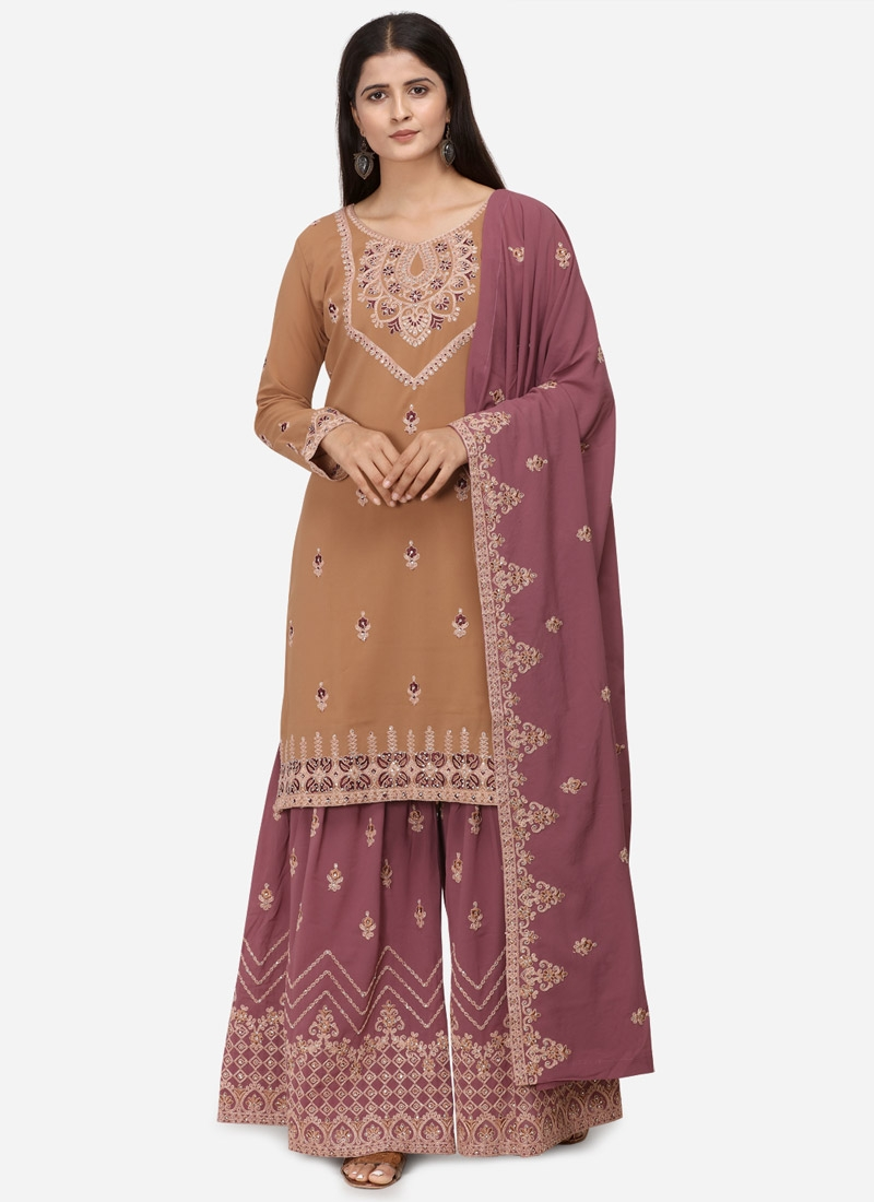 Faux Georgette Sharara Salwar Suit For Festival