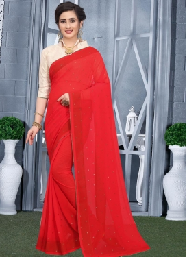 Faux Georgette Stone Work Designer Contemporary Style Saree