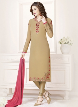Faux Georgette Straight Pakistani Salwar Suit