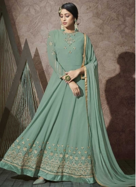 Faux Georgette Trendy Anarkali Salwar Suit For Festival
