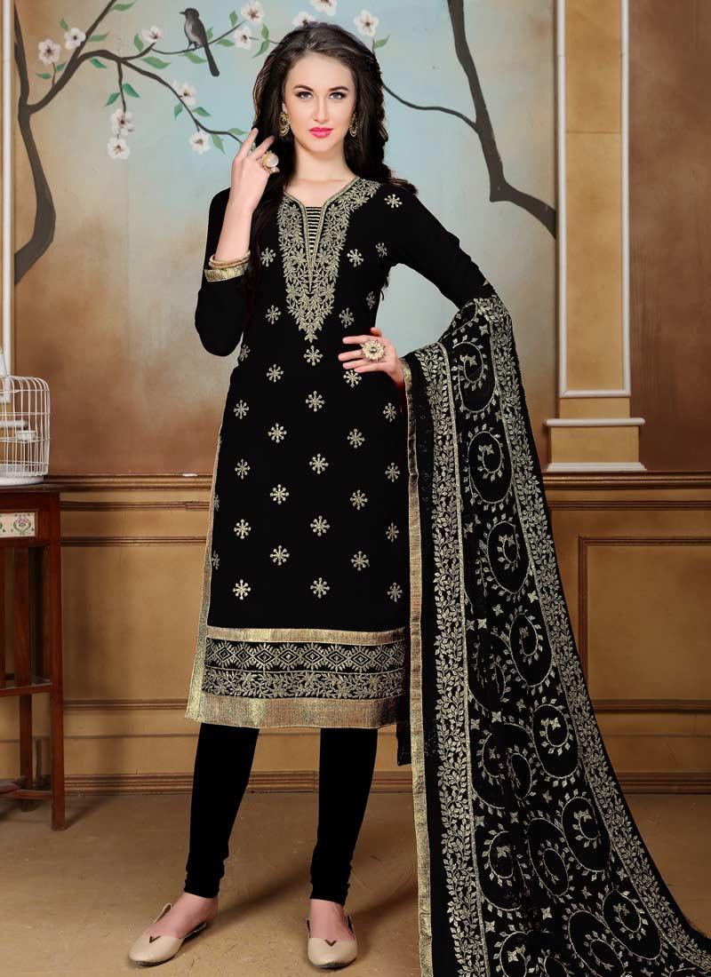 Faux Georgette Trendy Churidar Salwar Kameez For Ceremonial