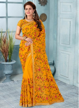 Faux Georgette Trendy Classic Saree For Bridal