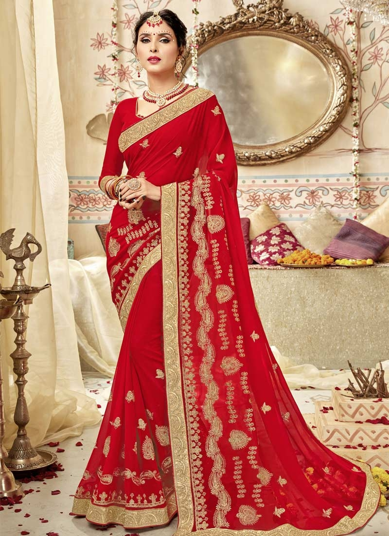 Faux Georgette Trendy Classic Saree For Ceremonial