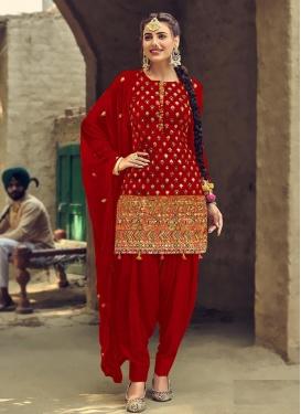 Faux Georgette Trendy Straight Salwar Kameez For Ceremonial