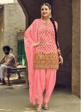 Faux Georgette Trendy Straight Salwar Suit