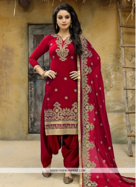 Faux Georgette Trendy Straight Salwar Suit For Festival