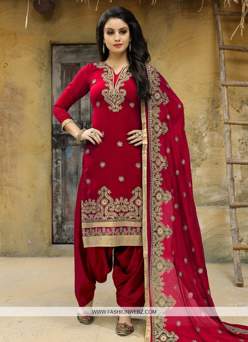 Faux Georgette Trendy Straight Salwar Suit For Festival