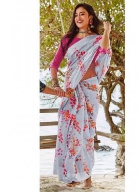 Festal Abstract Print Linen Printed Saree