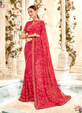 Festal Embroidered Hot Pink Faux Georgette Classic Designer Saree