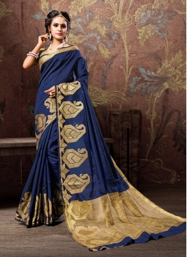 Fetching Navy Blue Ceremonial Traditional Designer Saree