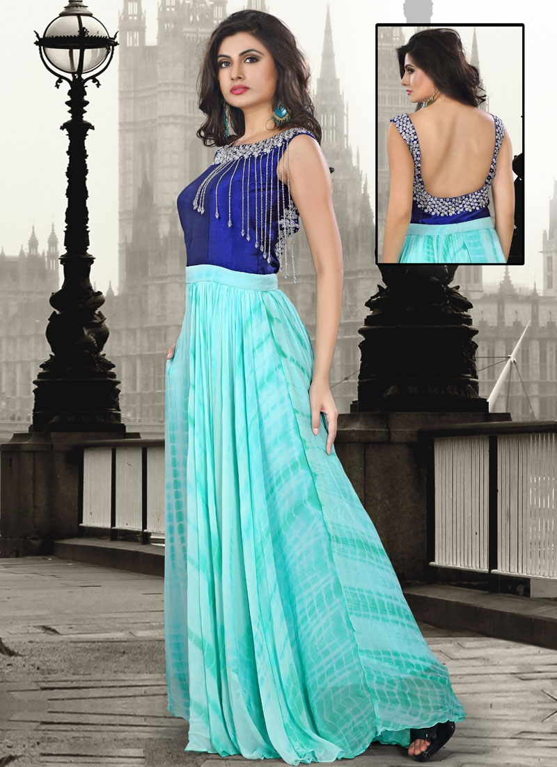 Fetching Pure Georgette Party Wear Readymade Gown