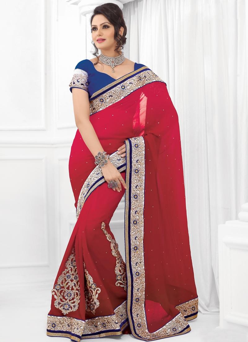 Fine Crimson Color Velvet Work Party Wear Saree