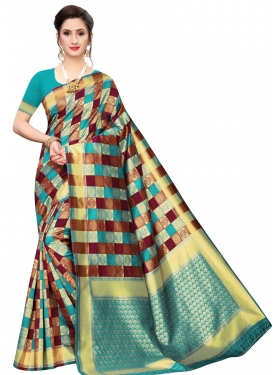 Firozi and Maroon Banarasi Silk Contemporary Style Saree For Casual