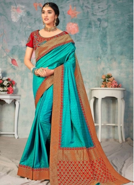 Firozi and Red Designer Contemporary Style Saree