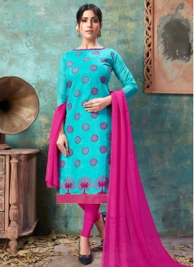 Firozi and Rose Pink Chanderi Cotton Trendy Churidar Suit