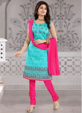 Firozi and Rose Pink Readymade Churidar Salwar Kameez