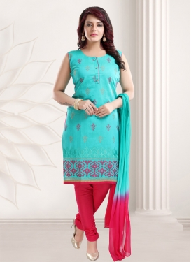 Firozi and Rose Pink Readymade Churidar Salwar Suit