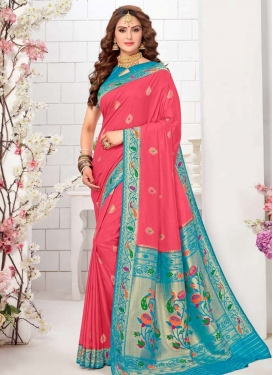 Firozi and Rose Pink Woven Work Designer Traditional Saree