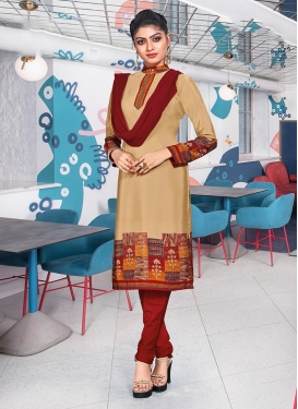 Flamboyant Crepe Silk Print Churidar Suit