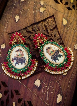 Flamboyant Green and Red Alloy Earrings