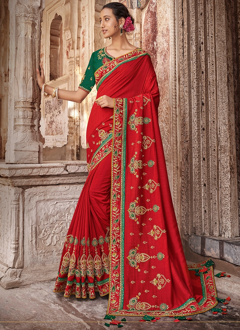 Flattering Art Silk Embroidered Red Traditional Saree
