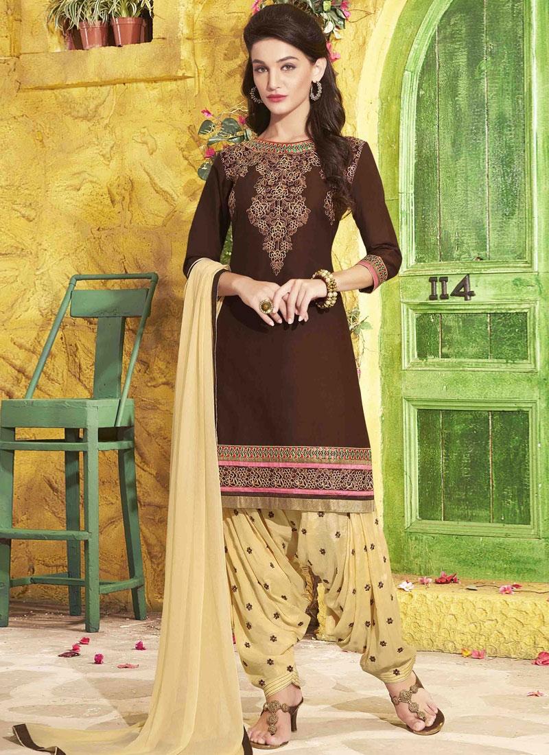 Flattering Coffee Brown Color Patiala Style Punjabi Suit,Blue Benjamin Moore Color Chart