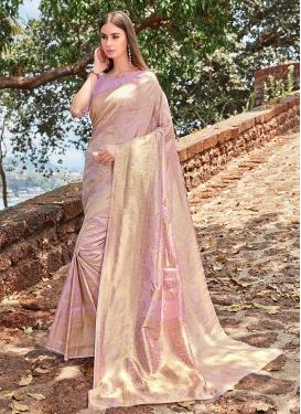 Floral Weaving Lavender Designer Traditional Saree