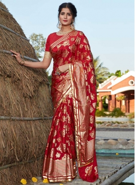Foil Print Work Designer Contemporary Saree