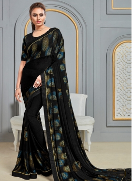 Foil Print Work Designer Contemporary Style Saree
