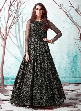 Foil Print Work Floor Length Gown
