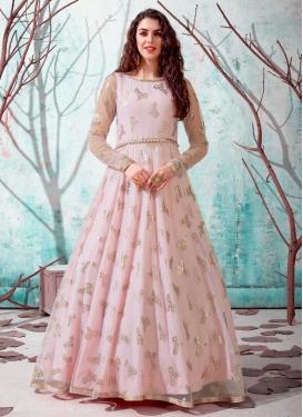 Foil Print Work Floor Length Trendy Gown