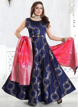 Foil Print Work Readymade Floor Length Gown For Party